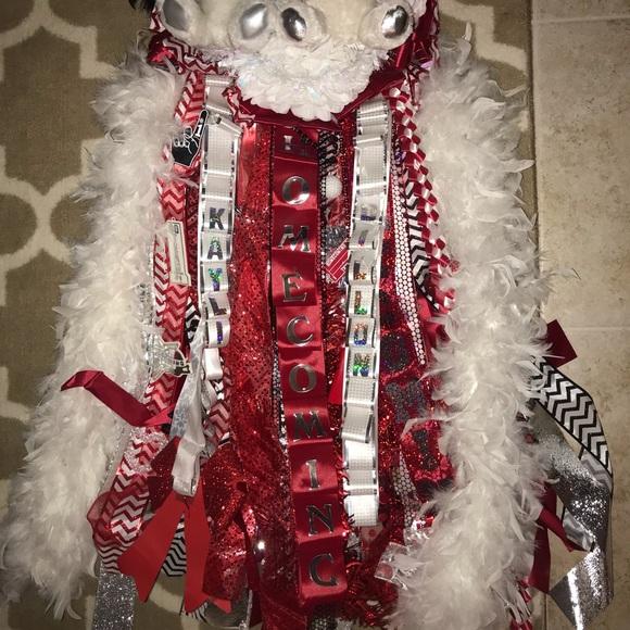 Christmas Homecoming Mum.Pre Made Beautiful Red And White Homecoming Mum